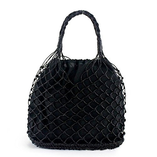 Knitted Black Tote Fishnet Beach Hollow Bags Bags Handbags Crochet Black Summer Women Out PB88T