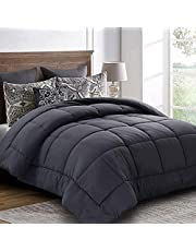 King Comforter (90 by 102 inches) - Grey Down Alternative Comforters Soft Quilted Duvet Insert with Corner Tabs - Balichun Luxury Hotel Collection 1800 Series - All Season