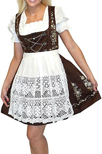 Dirndl Trachten Haus 3-Piece Short German Wear Party Oktoberfest Waitress Dress 10 40 Brown by Dirndl Trachten Haus