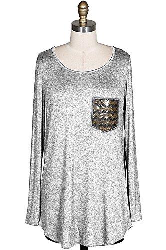 Shopglamla Chevron Sequin Pocket Long Sleeves Tunic Top H.Grey