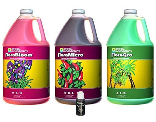 General Hydroponics FloraGro, FloraBloom, FloraMicro Combo Fertilizer set + 1oz Rapidstart