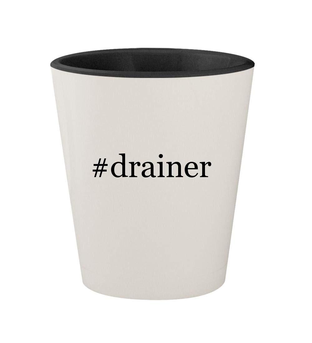 #drainer - Ceramic Hashtag White Outer & Black Inner 1.5oz Shot Glass