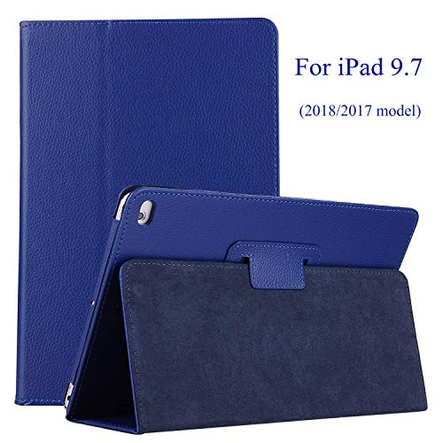 EAGKORD Case for iPad 9.7 2018/2017 Case, Slim Lightweight Multi-Angles Smart Stand PU Leather Cover with Auto Sleep/Wake Function for iPad 9.7 2018/2017 - Dark Blue
