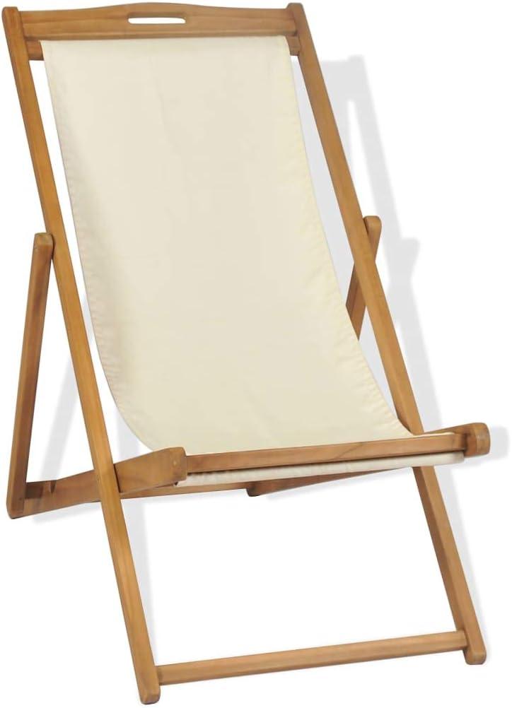 vidaXL Teak Liegestuhl Klappbar Creme Sonnenliege Strandliege Gartenliege