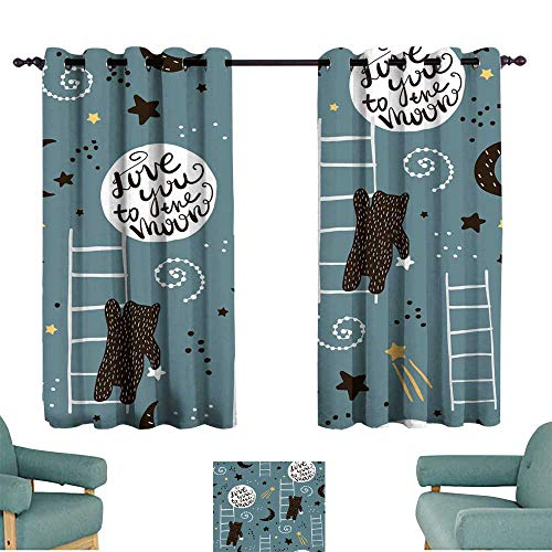 (Simple curtain Seamless childish pattern with bears stars and moon Creative kids texture for fabric wrapping textile wallpaper apparel Vector illustration for Living, Dining, Bedroom (Pair))