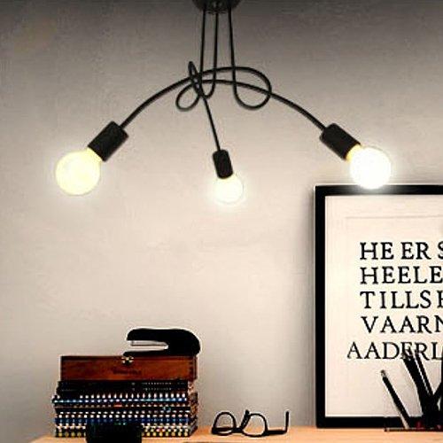 LightInTheBox Chandelier, 3 Light, Modern Characteristic Metal PaintingHome Ceiling Light Fixture Flush Mount, Pendant Light Chandeliers Lighting,Home Color=Black;Voltage=110-120V