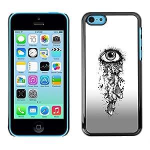 Caucho caso de Shell duro de la cubierta de accesorios de protección BY RAYDREAMMM - Apple iPhone 5C - Eye Girl Depression Sad Heartbreak