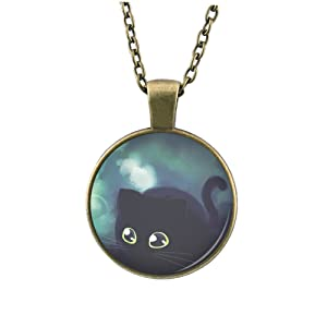 YEX Women Cat Custom Pendant Alloy Necklace Jewelry Nature Glass Cabochon Necklace