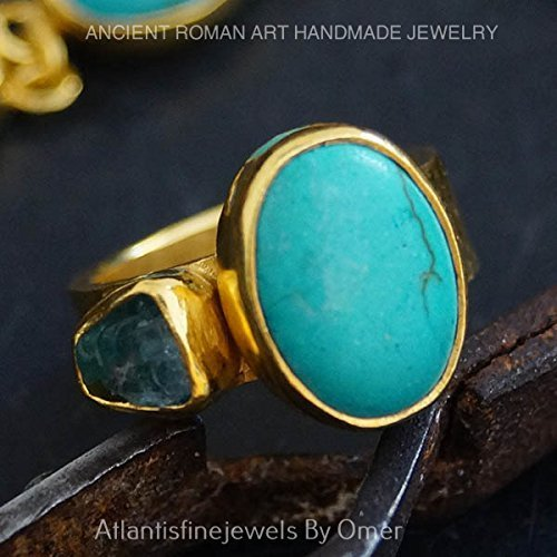 TURQUOISE & BLUE APATITE RING 24K GOLD OVER 925K SILVER HANDMADE BY OMER ()