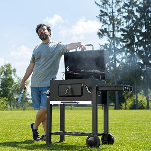 tectake Fumoir, Smoker, Barbecue à Charbon, BBQ de Bois, noir