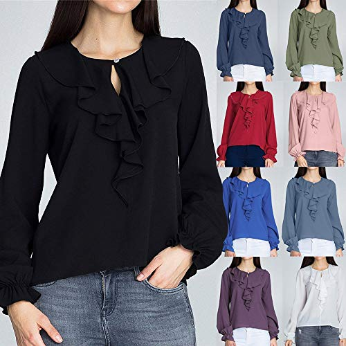 Shirt Blouse Noir Sexy Automne en Manches Mode 1 Sweatshirts Vrac Mousseline Femmes Soie Vetements Solide Volant Dcontracte t Chemise T de OVERMAL et Chic Longue Haut Top Dames Bureau q4Sxfx