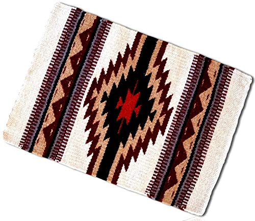 (White, Red, Tan Rectangle Southwestern Center Native American geometric Shapes pattern Fringed Blanket Table Placemats Made of 90% Wool & 10% Polyester yarn [1 Unit] + Certificate)