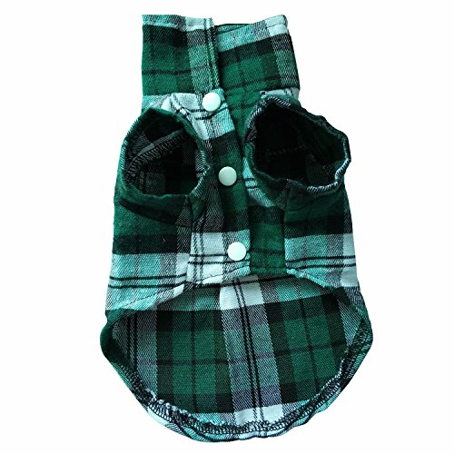 British style Plaid Dog Vest Dog Apparel for Summer and spring Dog Jacket for Small dogs with Furry Collar (XS, Green grid) ()