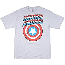 Marvel Comics Captain America Shield Mens T-Shirt in Heather Grey. XLT-5XL.