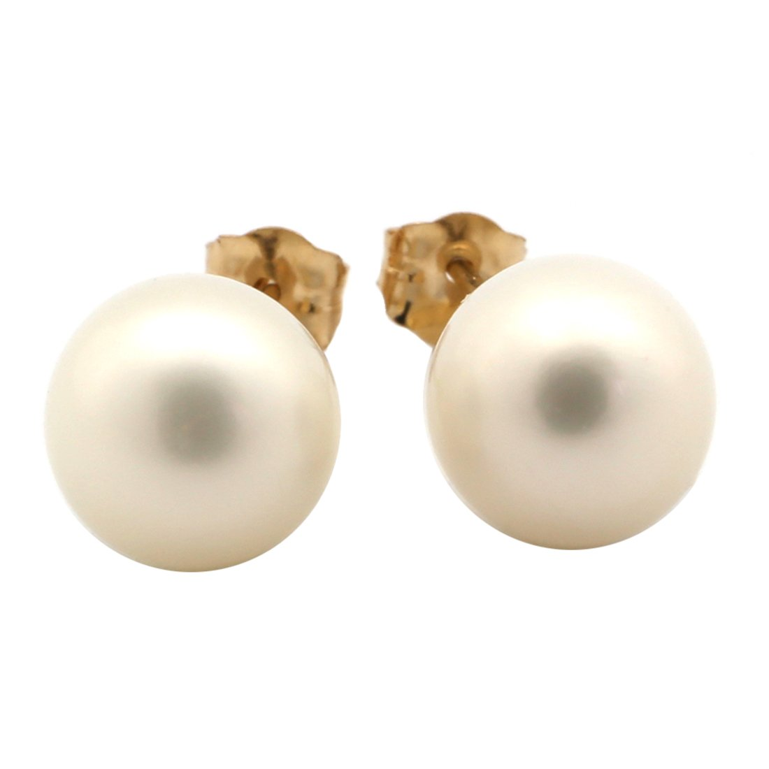 14k Yellow or White Gold or Sterling Silver AAA White Freshwater Cultured Pearl Stud Earrings