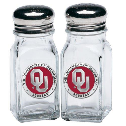 [UNIVERSITY OF OKLAHOMA SOONERS SALT & PEPPER SHAKERS WITH PEWTER LOGO] (Oklahoma Sooners Salt)