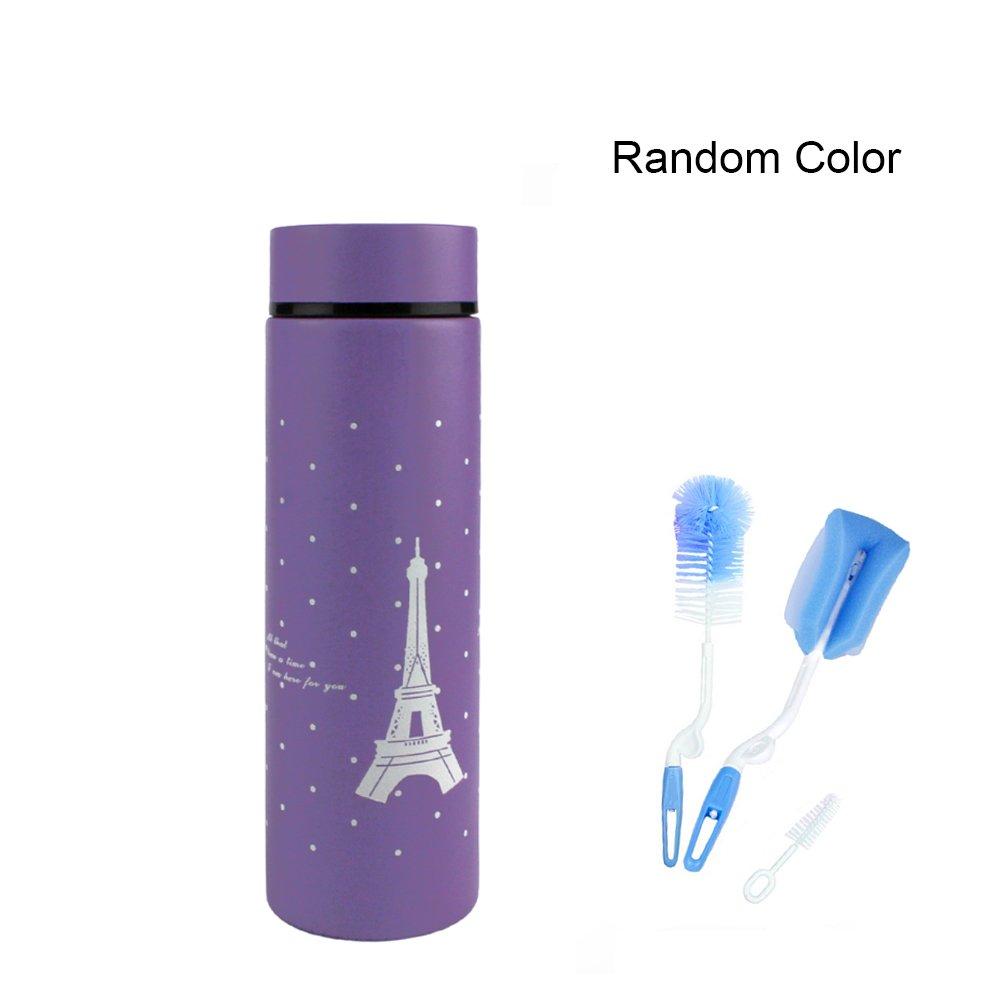 Sealive Baby Kid's Insulated Stainless Steel Water Bottle Cup Eiffel Tower Coffee Travel Mug(280ml,Purple) + 3pcs Bottle Brush Cleaner Kit Pacifier Nipple Sponge Cleaner