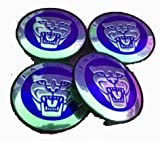 4pc. Jaguar S Type X Type Xj8 Xk8 Xkr Wheel Center Cap Blue & Printed Chrome Logo