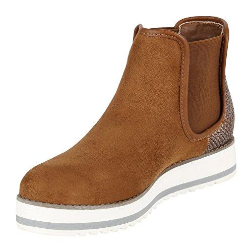Stiefelparadies Damen Metallic Stiefeletten Chelsea Boots Plateau Schuhe Strick Zipper Glitzer Booties Profilsohle Lack Plateauschuhe Wedges Flandell Braun Metallic Kroko