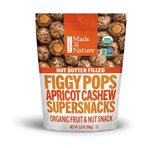 Made In Nature Organic Super Snacks, Figgy Pops (Filled Apricot Cashew, 3.8 Ounce, Pack of 6)
