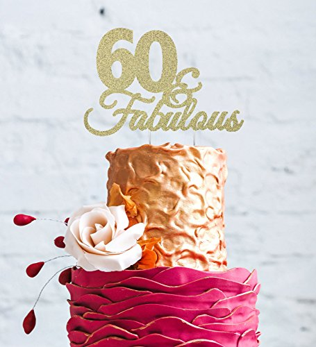 LissieLou 60 Fabulous 60th Birthday Cake Topper Swirly