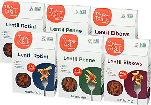 Modern Table Gluten Free, Complete Protein Lentil Pasta, Variety Pack (Elbow, Penne, Rotini), 6 - Modern Table