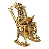 JaipurCrafts Lord Ganesha Statue Sitting On A Chair And Reading Ramayan Om Shubh labh Figurine Of Lord Ganesh,Brass Statue,Valuable collectible, Handcrafted Home Decorative 3D Moving Ganesha Ganesh Ganpati Statue Reading Ramayan Statue feng shui gifts- 6.50 IN