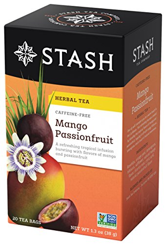 - Stash Tea Mango Passionfruit Herbal Tea, 20 Count Box of Tea Bags Individually Wrapped in Foil, Sweet Fruity Caffeine Free Herbal Tisane, Drink Hot or Iced