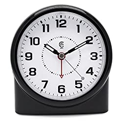 JCC Smartlite Technology Night Vision Non Ticking Analog Quartz Alarm Clock with Snooze and Brightness Control - Battery-Operated