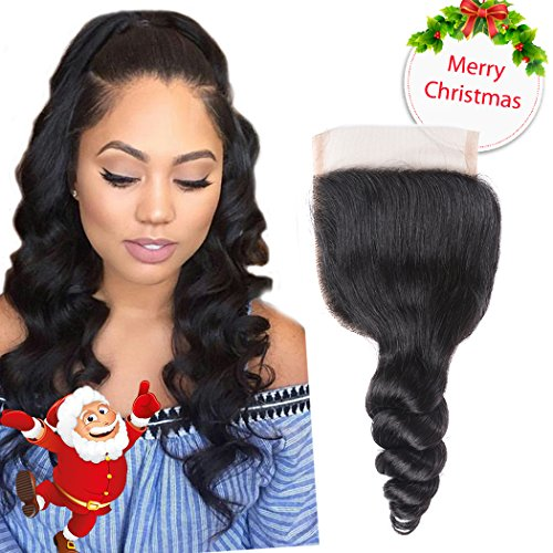 Li Queen 10 inch Brazillian Loose Wave Lace Closure size 4x4 Top Lace Closure with Baby Hair 100% Human Hair Loose Wave Closure Free Part 1B# Color (10 Inch Wave)