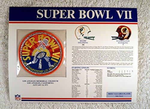 - Super Bowl VII (1973) - Official NFL Super Bowl Patch with complete Statistics Card - Miami Dolphins vs Washington Redskins - Jake Scott MVP