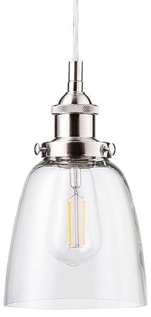 Fiorentino LED Brushed Nickel Pendant Light U2013 W/ Clear Glass Shade   Linea  Di Liara