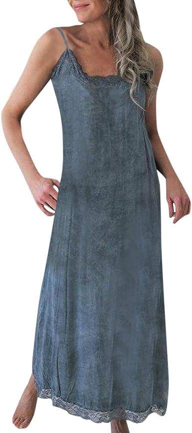 TUDUZ Mujer Vestidos Elegante Sin Mangas Verano Vestido de Algodón y Lino Vestido de Fiesta Beach Maxi Vestido: Amazon.es: Ropa y accesorios