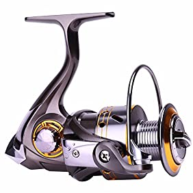 Sougayilang Left/right Interchangeable Collapsible Handle Spinning Fishing Reel with 5.2:1 Gear Ratio 12+1 Ball Bearings for Freshwater Saltwater Fishing