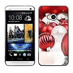 YOYO Slim PC / Aluminium Case Cover Armor Shell Portection //Christmas Holiday Red Globes 1283 //HTC One M7