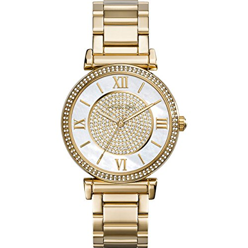 Michael Kors Catlin Mother of Pearl Dial Gold Tone SS Quartz Ladies Watch MK3332 (Pearl Ss Dial)