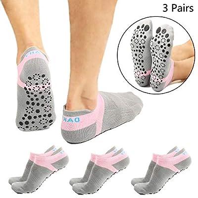 Non Slip Yoga Socks for Barre Yoga Pilates Hospital, Adults Men Women, 3 Pairs