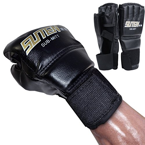 Asatr Black Leather Boxing Fight Gloves Heavy Bag Punching Gloves Sparring Gloves,Black – DiZiSports Store
