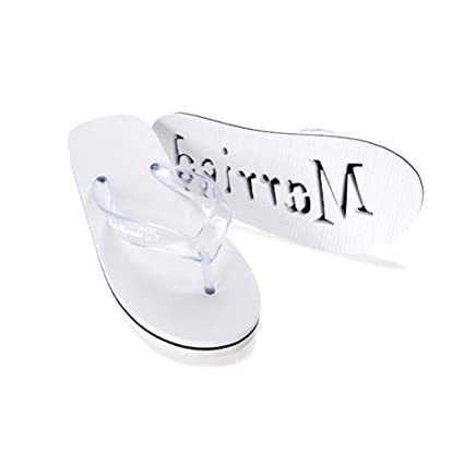 2de731968273 Amazon.com  Bride Size 10 Just Married Woman s Flip Flops Honeymoon Wedding  Shoes  Everything Else