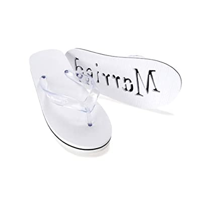 e5ef8c861e43c0 Image Unavailable. Image not available for. Color  Victoria Lynn Just  Married Women s Flip Flops Honeymoon Wedding Shoe s 9 White