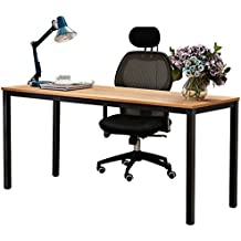 "Dland 63"" X-Large Computer Desk BS1-160TB, Decent & Steady, Composite Wood Board, Home Office Desk/ Workstation/ Table, Teak & Black Legs, 1 Pack"
