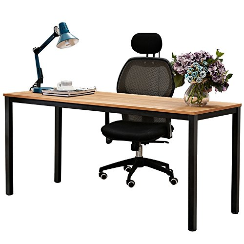 Dland 63'' X-Large Computer Desk BS1-160TB, Decent & Steady, Composite Wood Board, Home Office Desk/ Workstation/ Table, Teak & Black Legs, 1 Pack by Dland