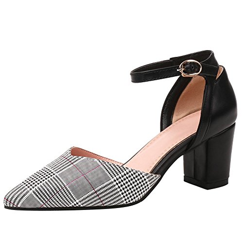 Mee Shoes Damen Chunky Heels Mehrfarbig Ankle Strap Pumps