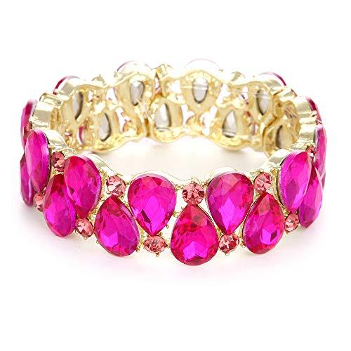 (Youfir Bridal Austrian Crystal Teardrop Knot Elastic Stretch Bracelet for Brides Wedding Party(B-Rose red))