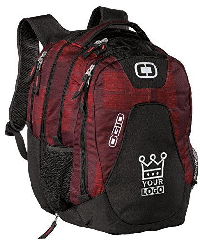Ogio Charcoal - OGIO | Juggernaut Backpack with Embroidered Logo | Fully Customizable Book Bag | Upload Your Own Design | Bulk Promotional Products | Red & Charcoal