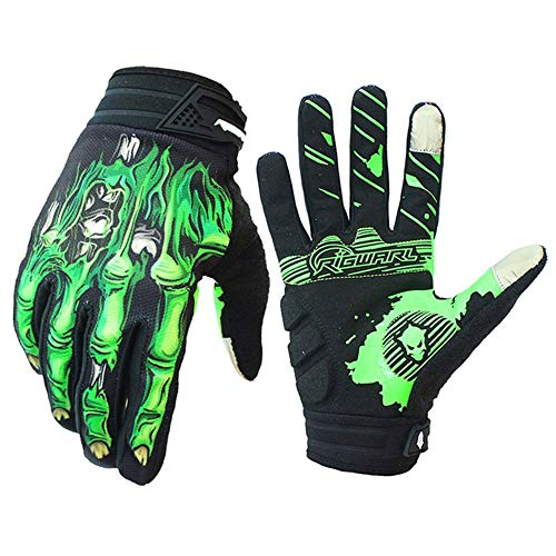 (Cycling Gloves for Men Women, Bike Gloves with Shock-Absorbing Gel Pad, Anti-Slip & Touchscreen, Motorcycles Riding, MTB, Road Bike Skeleton Bones Gloves (New Green, XL(Palm Width 3.94''-4.21'' )))