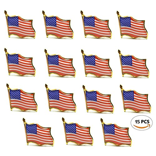 Meeall 15 PCS American Flag Lapel Pin United States USA Waving Flag Pins