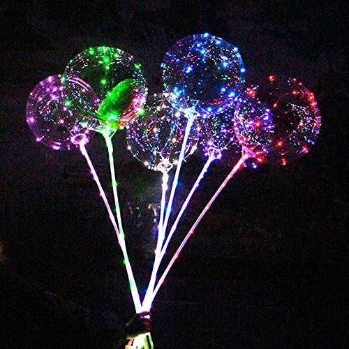 Gotian Reusable Luminous Led Balloon Transparent Round Bubble Decoration Party Wedding - Luminous Balloons - 1 x LED Balloon, 1 x Led Rope, 2 x Sticks) (Purple)