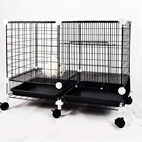 KXBYMX-11 Dog cage Small Dog cat cage Double Rabbit cage Villa Three-Layer pet Fence Teddy cage with Toilet Wheel Safety Fence (Color : Black) ()