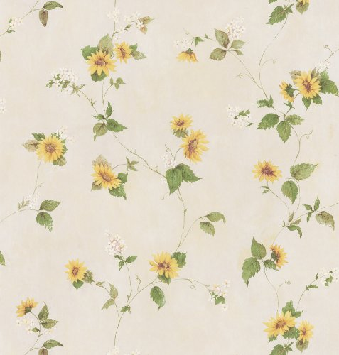 (Brewster 414-45177 August Yellow Floral Trail Wallpaper)
